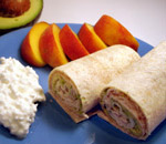 turkey wrap with peaches and cottage cheese